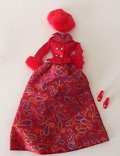 BARBIE FASHION AVENUE RED Paisley  BARBIE GOWN Shoes Hat