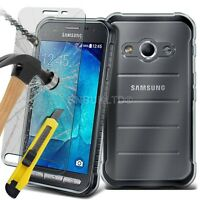 Clear Slim Gel Case & Glass Screen Protector for Samsung Galaxy Xcover 3 G388F
