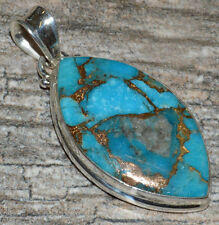 Blue Copper Turquoise 925 Sterling Silver Pendant Jewelry JJ5127