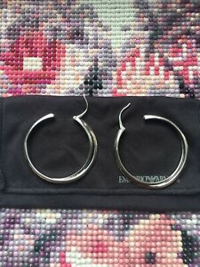 Genuine Emporio Armani Sterling Silver Twist Earrings With Cloth