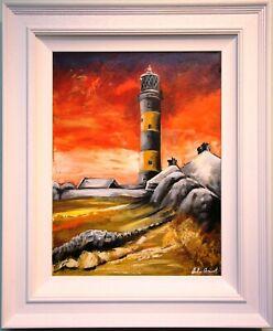 Original Oil Painting Irish Art ST JOHNS POINT LIGHTHOUSE, KILLOUGH, DOWNPATRICK