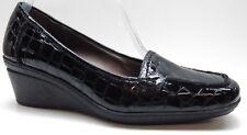 Joan & David Black Animal Print Patent Leather Wedge Dress Pumps 7.5M MSRP $89