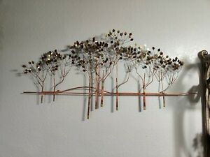 Mid Century Modern CURTIS JERE'  Metal TREES WALL SCULPTURE Signed