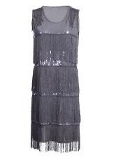 Ali-Market S/M Fit Women Sexy Gray Tassel Sequins Sleeveless Cocktail Dress