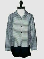 CHICO'S Size 3 16 18 XL Blouse Shirt Top Black White Stripes Cuff Long Sleeve