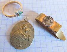petit lot bijoux fantaisie bague médaille et porte photo