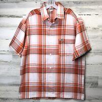 Caltop Short Sleeve Button Up Shirt Orange White Made In USA Size Medium CLEAN!