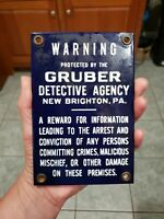 """Original Porcelain Gruber Detective Agency New Brighton PA 6"""" by 4"""""""
