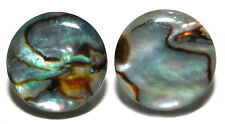 "12mm (1/2"") NATURAL ABALONE PAUA SHELL ROUND CUFF LINKS (091a)"