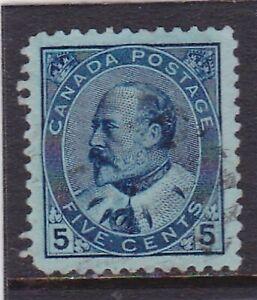 CANADA #91 USED UNHINGED 5c BLUE ON BLUISH PAPER KING EDWARD VII VF