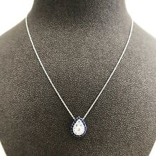 Pear Shape Drop Diamond and Sapphire Pendant Necklace in 14K White Gold