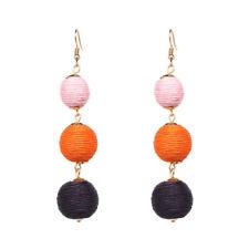 Orecchini`Orecchie Tre Perla Cotone Fatto A Mano Artigianale Rosa Arancione