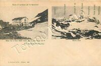 Cartolina di Alagna Valsesia, rifugio Guglielmina e Monte Rosa - Vercelli, 1907