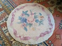 """ANTIQUE ART DECO VICTORIAN RUG 24"""" ROUND HAND WOVEN VTG OLD RARE 2' SMALL"""