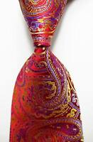 New Classic Paisley Red Gold Blue JACQUARD WOVEN 100% Silk Men's Tie Necktie