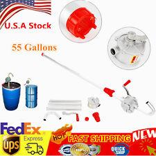 55 Gal Self Priming Rotary Hand Oil Pump Fuel Barrel Drum Syphon Transfer Tool