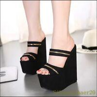 Womens High Platform Super High Heel Wedge New Summer Slippers Sandals Shoes Sz