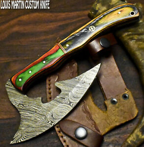 Louis Martin Hand Made Damascus Steel Hard Wood Hunting Clever Chopper Axe Knife
