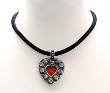 trachtig Le Novita Halskette Herz mit Strass Filz und Edelweiß in rot