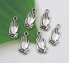 12 PRAYING HANDS Charms, Antique Silver Prayer Religious Charm Set Lot 19x9mm