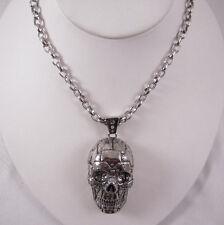 "Han Cholo Silver Stainless Steel Rivet Skull Pendant  Necklace 28"""