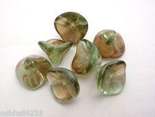 12 12mm Czech Glass Three Petal Flower Beads: Chrysolite - Celsian