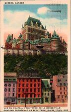 CHATEAU FRONTENAC- QUEBEC CANADA POSTCARD POSTMARK 8/9/1940