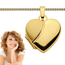 Echt Gold 585 Frauen Medaillon Herz Anhänger Amulett zum öffnen mit Silber Kette