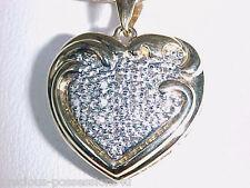 $2188 SWEETHEART 14K 2 TONE 25 DIAMOND HEART PENDANT DOUBLE SNAKE CHAIN