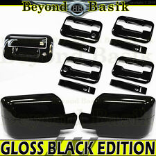 2004-2008 FORD F150 Crew GLOSS BLACK Door Handle 2KH noKP+Mirror+Tailgate Covers