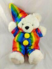 "Fiesta White Clown Bear Plush 14"" 1989 Stuffed Animal"