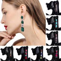 Women Elegant Crystal Rhinestone Earrings Tassel Dangle Drop Ear Stud Jewelry