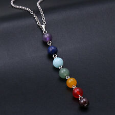 7 Chakra Beads Cross Healing Reiki Gemstone Stone Charms Pendant Fit Necklace