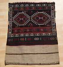 Traditional Rug Kurdish Kilim Rug Hand Woven Black Rectangle Wool Area Rug 3X4ft