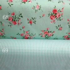 160cm Wide 133*72 Pink Green Rose Flower Gingham Check Premium Cotton Fabric
