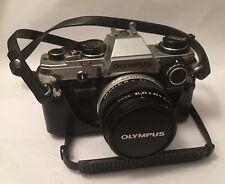 olympus om10 SLR 35mm film camera With 50mm Lens & Manual Adapter Vintage