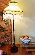 Vintage Retro Mid Century standard lamp floor lamp Cedar silk shade light