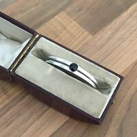 Gorgeous Marked Sterling Silver & Onyx Child's Bangle 6.33gr