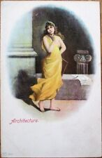 Nude/Topless 'Architect' Woman w/Breast Exposed 1905 Postcard - Risque
