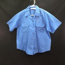 Haband Shirt Blouse Size L Short Sleeve Blue Button Down Casual 2 Pockets