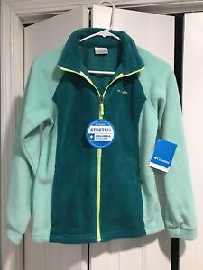 COLUMBIA Girls XL 14/16 Benton Springs Emerald/Pixie Two Tone Fleece Jacket NWT