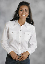 Roper Women's Western Cowgirl 100% Cotton Solid Poplin 1Pt Back Yoke Vergtd Snap