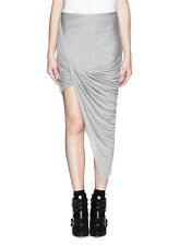 HELMUT LANG Kinetic Jersey Asymmetrical Wrap Skirt in Soft Grey Heather Large L