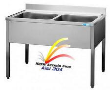 Lavello cm 100x60x85  in Acciaio Inox Aisi 304 Lavatoio 2 Vasche Professionale