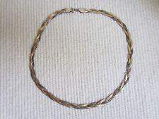 Girocollo in argento 925 maglia piatta intrecciata a 3 colori anni '70 - 13gr