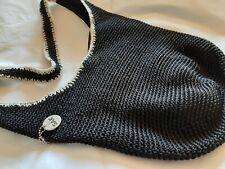 Shoulder bag The SAK, black with white trim