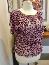 Lovely Size 18 Pink And Black Frilled Polyester Summer Top Lightweight Used