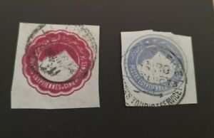Egypt : Sphinx & Pyramid -Envelope stamps : 5mill & 1pi ; nice examples