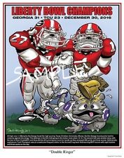 Georgia Bulldogs Football Dave Helwig 2016 Liberty Bowl Champs Double Ringer Art