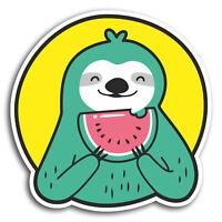 2 x 10cm Watermelon Sloth Funny Vinyl Stickers - Sticker Laptop Luggage #19482